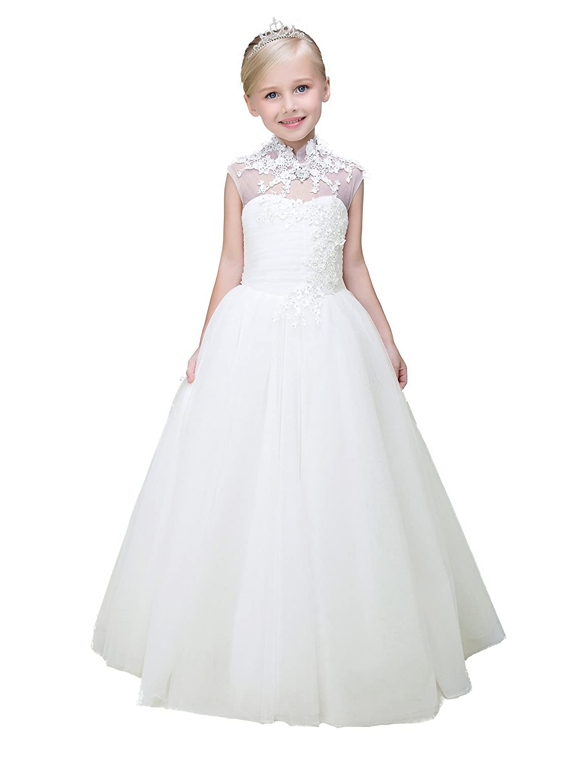 197f0f810 Amazon.com  Yuanlu Flower Girl Dress Lace Floor Length Communion ...
