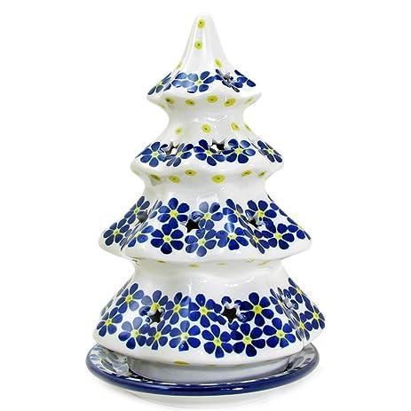 """Polish Pottery Handmade 8"""" Christmas Tree Luminary Star Cutouts Pattern  602-Crazy Daisy - Amazon.com: Polish Pottery Handmade 8"""" Christmas Tree Luminary Star"""