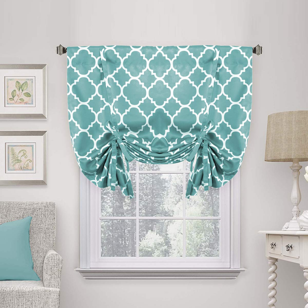 H.VERSAILTEX Rod Pocket Blackout Curtain Tie Up Balloon Shade Window Panels for Living Room/Bedroom Printed Smoke Blue Pattern 42W x 63 One Panel