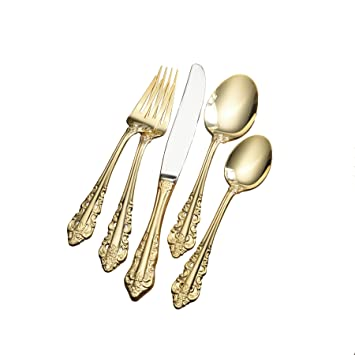 Wallace Antique Baroque Gold Plated 80 Piece Flatware Set