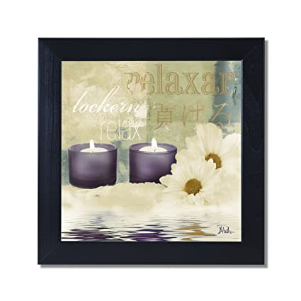 Relaxation I Spa Bathroom Black Framed Art Print Poster 12x12