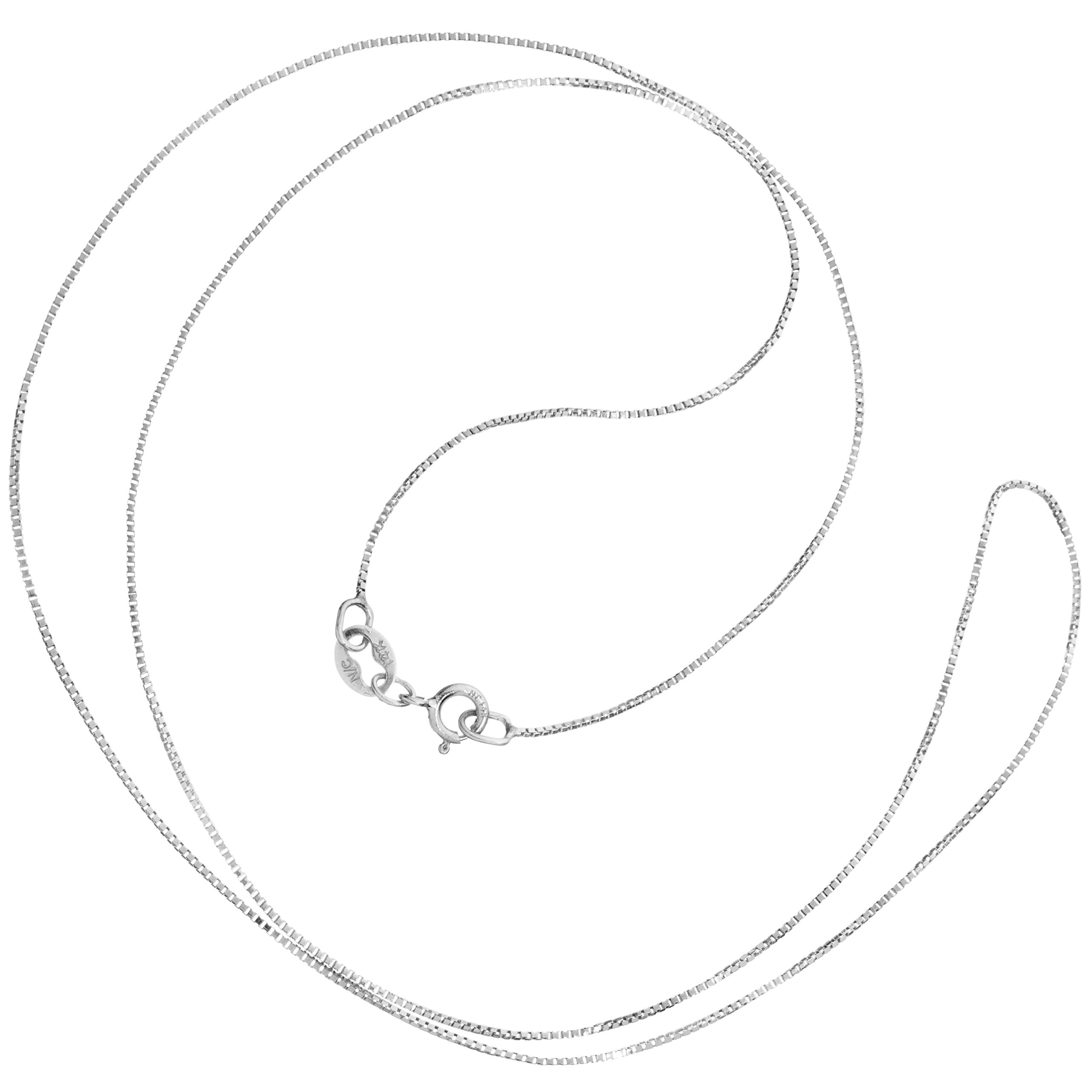14K Solid White Gold Necklace | Box Link Chain | 18 Inch Length | .60mm Thick | With Gift Box