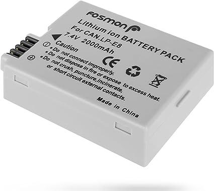 Fosmon 7.4V 2000mAh Reemplazo Lithium Ion Batería Paquete para Canon LP-E8 y Canon EOS 700D 650D 600D 550D T2i T3i T4i X4 X5 X6 LPE8: Amazon.es: Electrónica