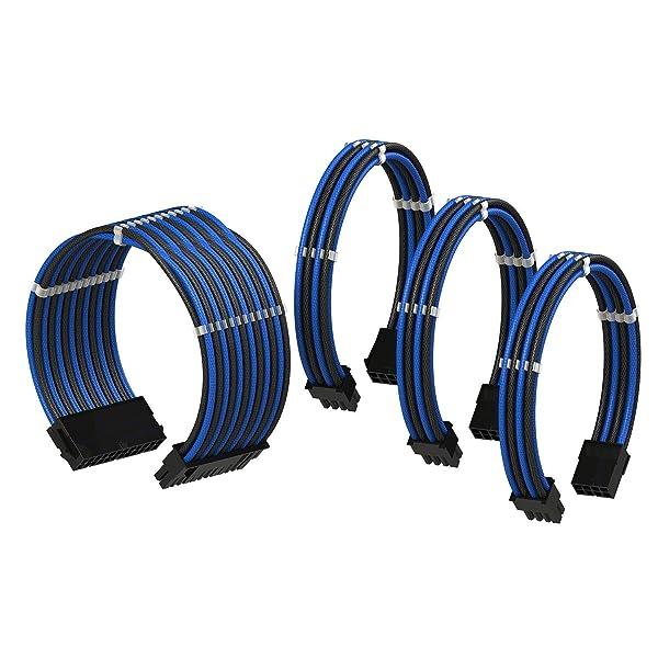 LINKUP PSU Cable Extension Sleeved Custom Mod GPU PC Power Supply Braided w/Comb Kit |1x 24 P (20+4) | 1x 8 P (4+4) CPU | 2X 8 P (6+2) GPU Set | 50CM 500MM - Blueblack (Color: BlueBlack, Tamaño: 50cm Pwr Cable Kit)