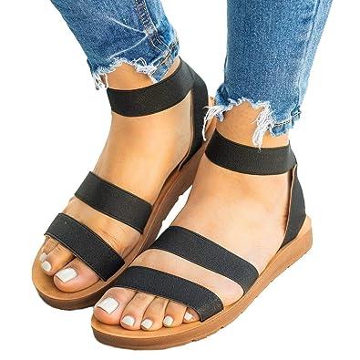 873a886eabfd Feshare Womens Summer Flat Sandals Elastic Ankle Strap Open-Toe Gladiator  Black Blue