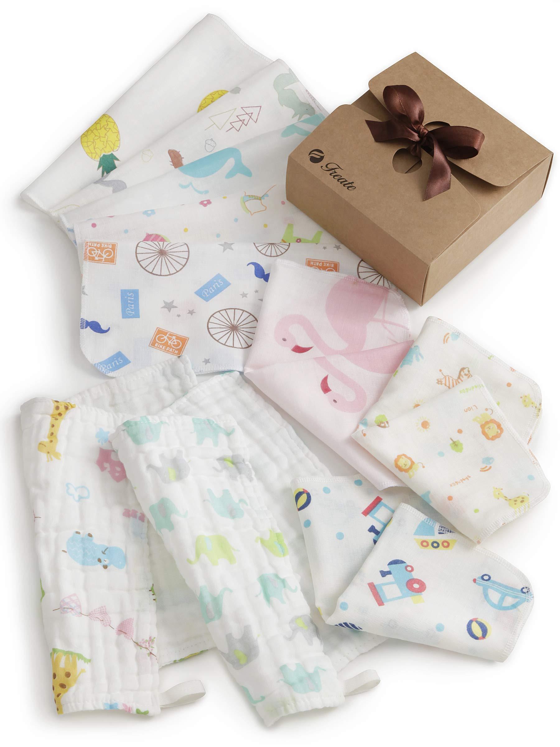Freate 赤ちゃん用ガーゼハンカチ ベビータオル ビブ 厚さ色々10枚セット 25×25cm