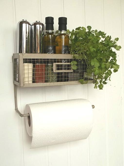 Portarotolo da cucina con mensola contenitore porta spezie in stile ...
