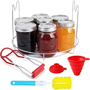 Canning Kits, Canning Essentials Set Includes 1 PC Canning Rack, 1 PC Canning Jar Lifter, 1 PC Food Grade Silicone Collapsible Canning Funnel and 1 PC Sponge Cleaning Brush for Wide and Regular Jars