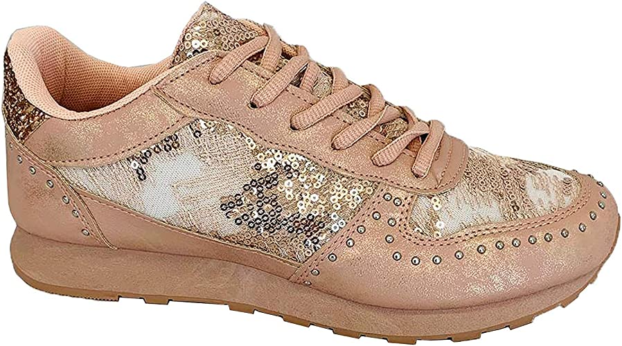 Ladies Trainers Womens Lace Up Sequin