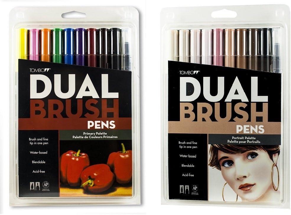 Tombow Dual Brush, Pen Set, 20-Pack, colores primarios y Retrato ...