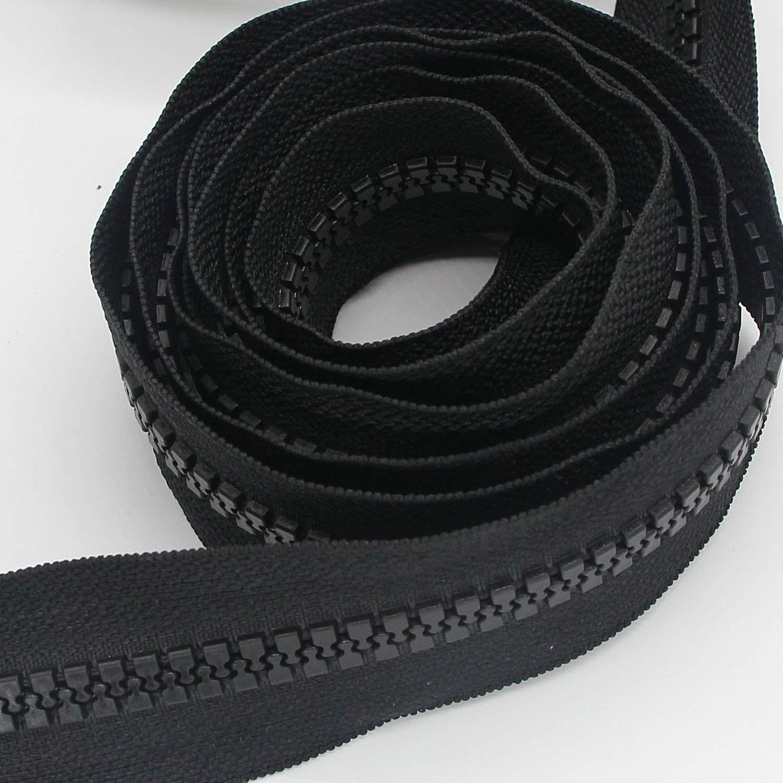 5 yardas # 10 Cremallera de pl/ástico grande de The Yard Bulk 5 yardas con 10 piezas de control deslizante largo para bricolaje Costura Artesan/ía Bolsas Carpas Negro .