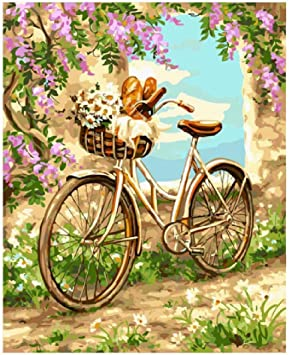 jjyyh Pintura por Números Bicicleta Romántica B 60X75Cm DIY Lienzo ...