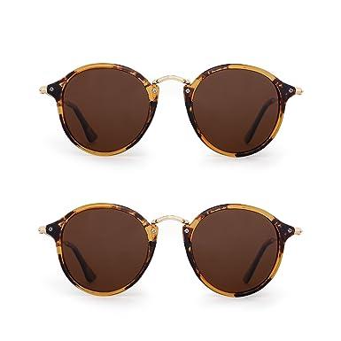 Gafas de Sol Polarizadas Retro Redondas Lentes de Espejo Pequeño Circulo Tintado Hombre Mujer 2 Paquete Marrón: Amazon.es: Ropa y accesorios