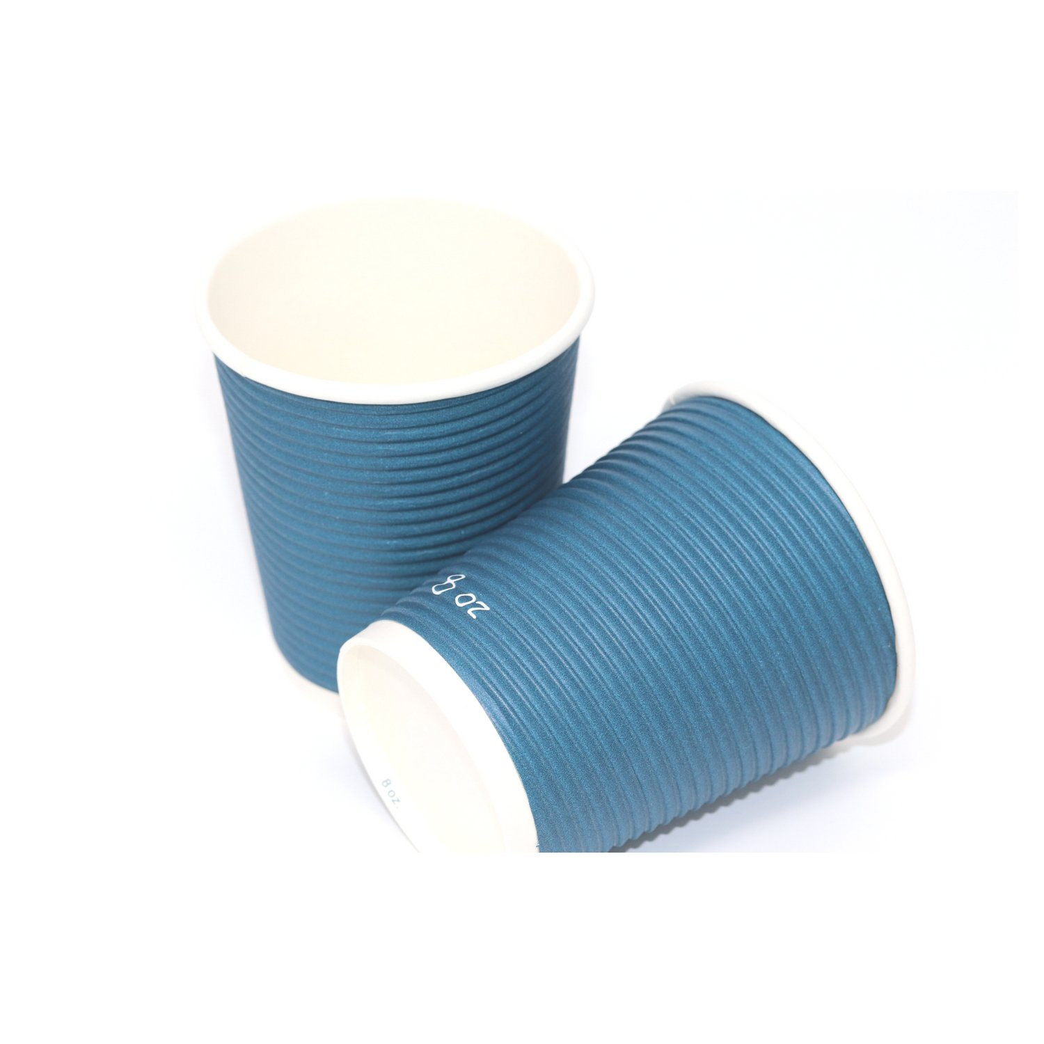 Disposable Insulated To Go Ripple Biodegradable Hot Coffee Cups with Lids [8 oz with Lid] by Berkley Square (Image #2)