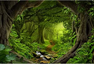 Laeacco 8x6ft Forest Green Trees Vinyl Photography Backdrop Nature View Greenery Home Decorate Wallpaper Photo Props Studio Background