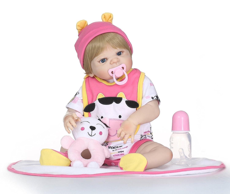 面白い家23インチ57 cmハンドメイドフルシリコンビニールReal Looking新しいBorn Alive Baby Girl Doll WeightedホットLifelike Reborn人形Weighted解剖学的に正しいfor Babiesクリスマス誕生日ギフトおもちゃ   B07DJ5S4TF