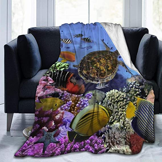 RomaniaGH Reef Sea Turtle Fish Print Throw Blanket Soft Warm Cozy Bed Couch Sofa Blankets 50