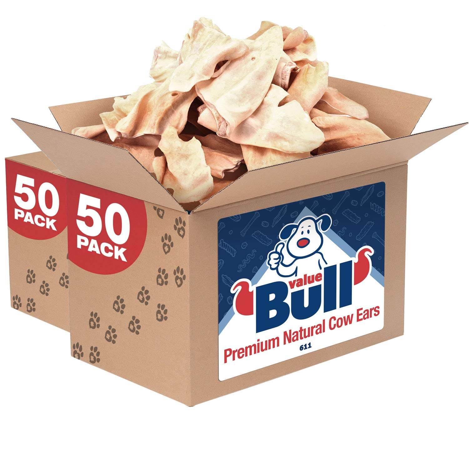 ValueBull Premium Natural Cow Ears Dog Chews, 100 Count by ValueBull