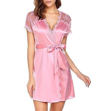 62a8b905e2 Adome Women Lace Short Sleeve Dressing Gown Satin Kimono Bathrobe with Belt   Amazon.co.uk  Clothing