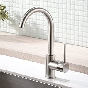 Modern Bar Sink Faucet -Gimili Bar faucet for Kitchen Sink Single Handle Hot and Cold, Brush Nickle Prep Sink Faucet