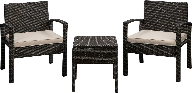 Patio Sense Bern 3 Piece Conversation Set, All Weather Wicker, Mocha,Khaki Cushions,Outdoor Seating