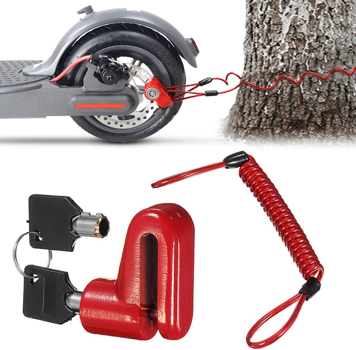 Scooter Eléctrico Cerradura del Freno de Disco Cerradura de Seguridad, Cerradura de Alambre de Acero Antirrobo para Xiaomi Mijia M365 Ruedas de Bicicleta Armario con Cuerda de Recordatorio (Rojo)