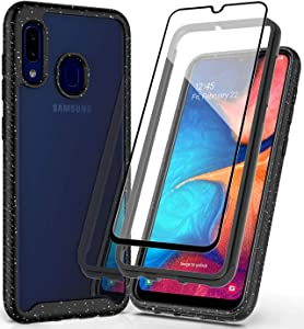 PhuLok Samsung Galaxy A20 Case,Galaxy A30 Case,with Tempered Glass Screen Protector,Clear Full Body Heavy Duty Protection Shockproof Rugged Cover Case for Galaxy A30/A20 (Black)