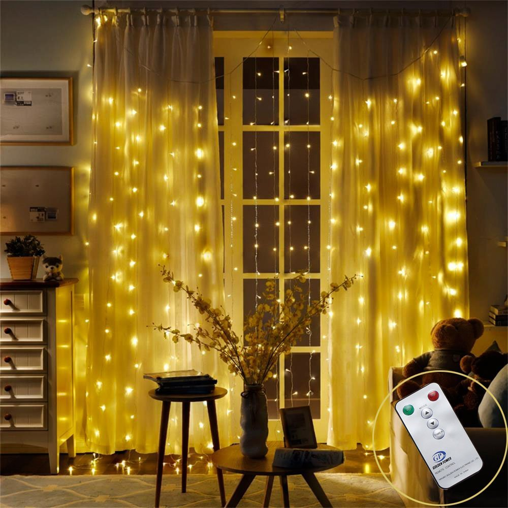 DLIUZ Remote Control 304 LED Curtain Lights UL Safe Christmas Fairy String Lights with 8 Modes for Wedding Party Garden Family Holiday Decorations (Warm White)