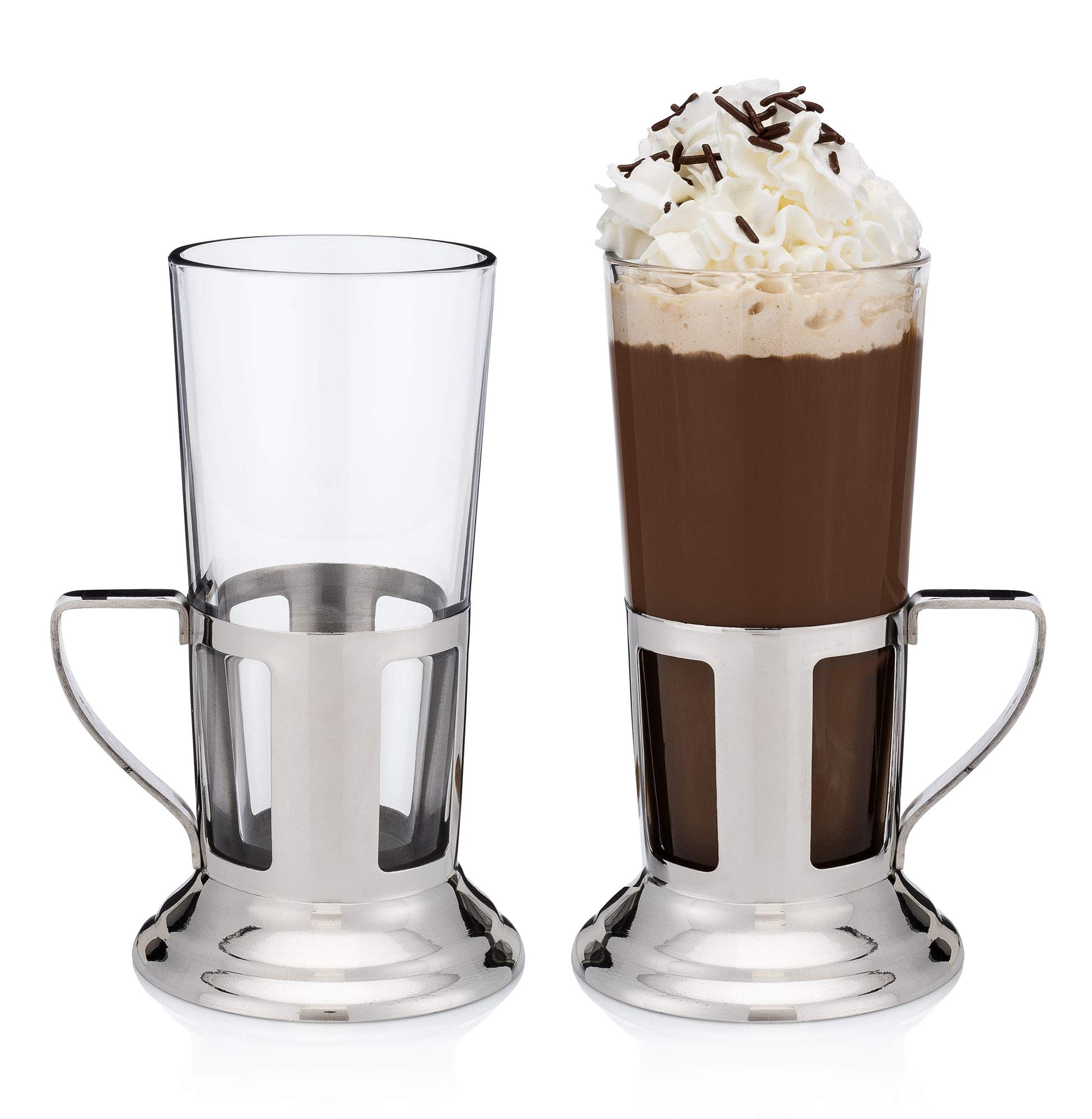 Irish Coffee and Hot Cocktails Glass with Stainless-Steel Holder (2 Two-Piece Sets)