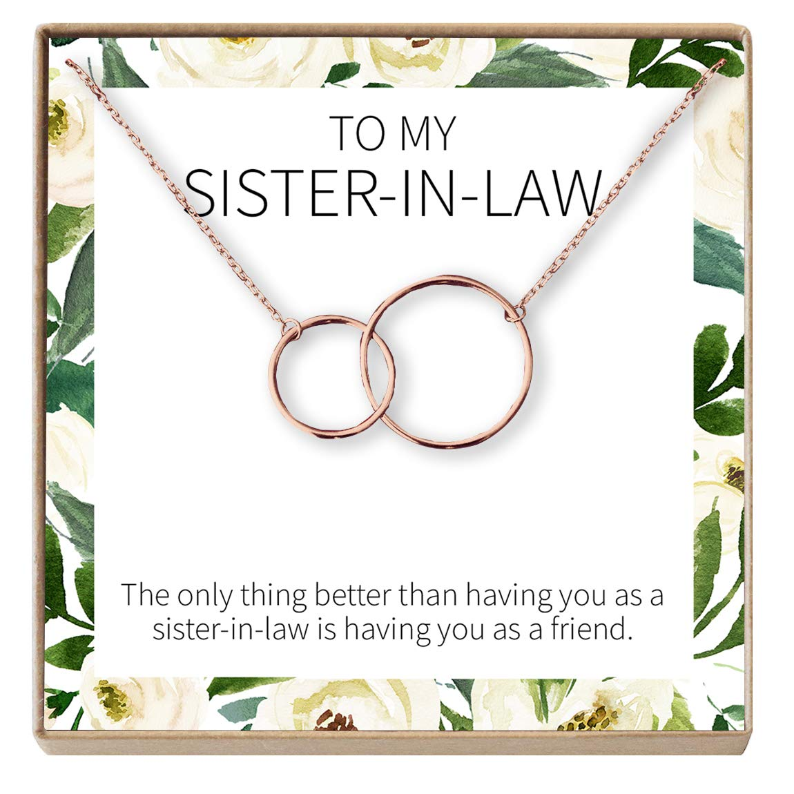 Jewelry from Sister Dear Ava Sister-in-Law Gift Necklace Wedding Gift 2 Interlocking Circles