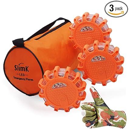 SlimK 3 Pack LED Road Flares, Roadside Safety Discs -Emergency Warning  Light Flashing Beacon Kit for Cars Motorcycle Bikes Trucks Boats,Instant