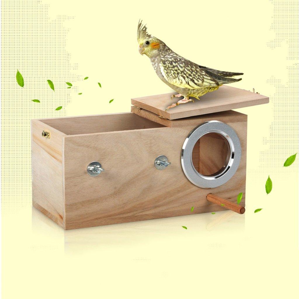 Liuyu · Casa de la Vida Caja de cría de loro de nido de pájaro de madera maciza Anillo de cría de loro de nido de pájaro ( Color : Extra large , Tamaño : Left side opening ) pajarera