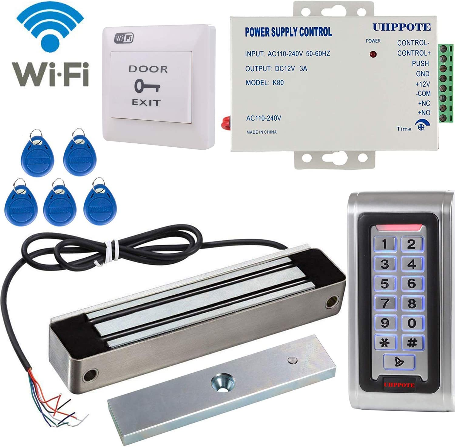 Door Access Control System Outswinging 600lbs Electromagnetic Lock Kit Wifi 2.4ghz  Camera & Photo