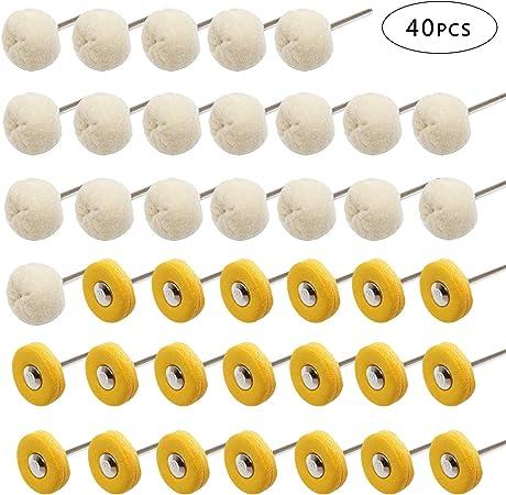 PHYHOO Abrasive Wheels Brushes Polishing Buffing Wheel Set for Dremel Rotary Tool Grinding Accessories 40Pcs 3mm