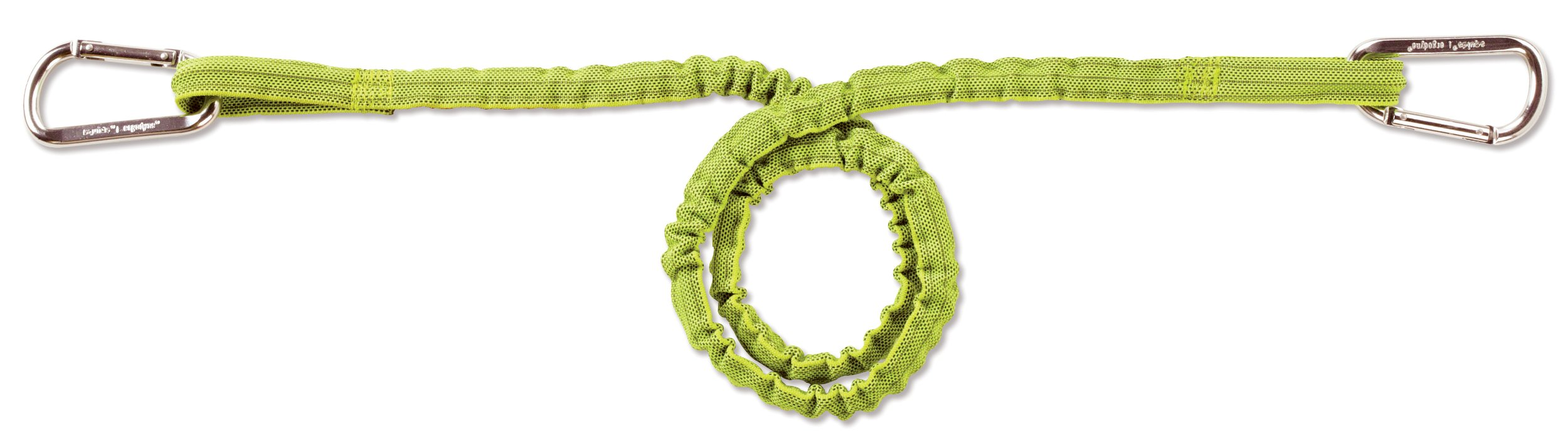 Ergodyne Squids 3110 Tool Lanyard with Dual Aluminum Carabiners, Extended Length, Lime, 10 Pounds