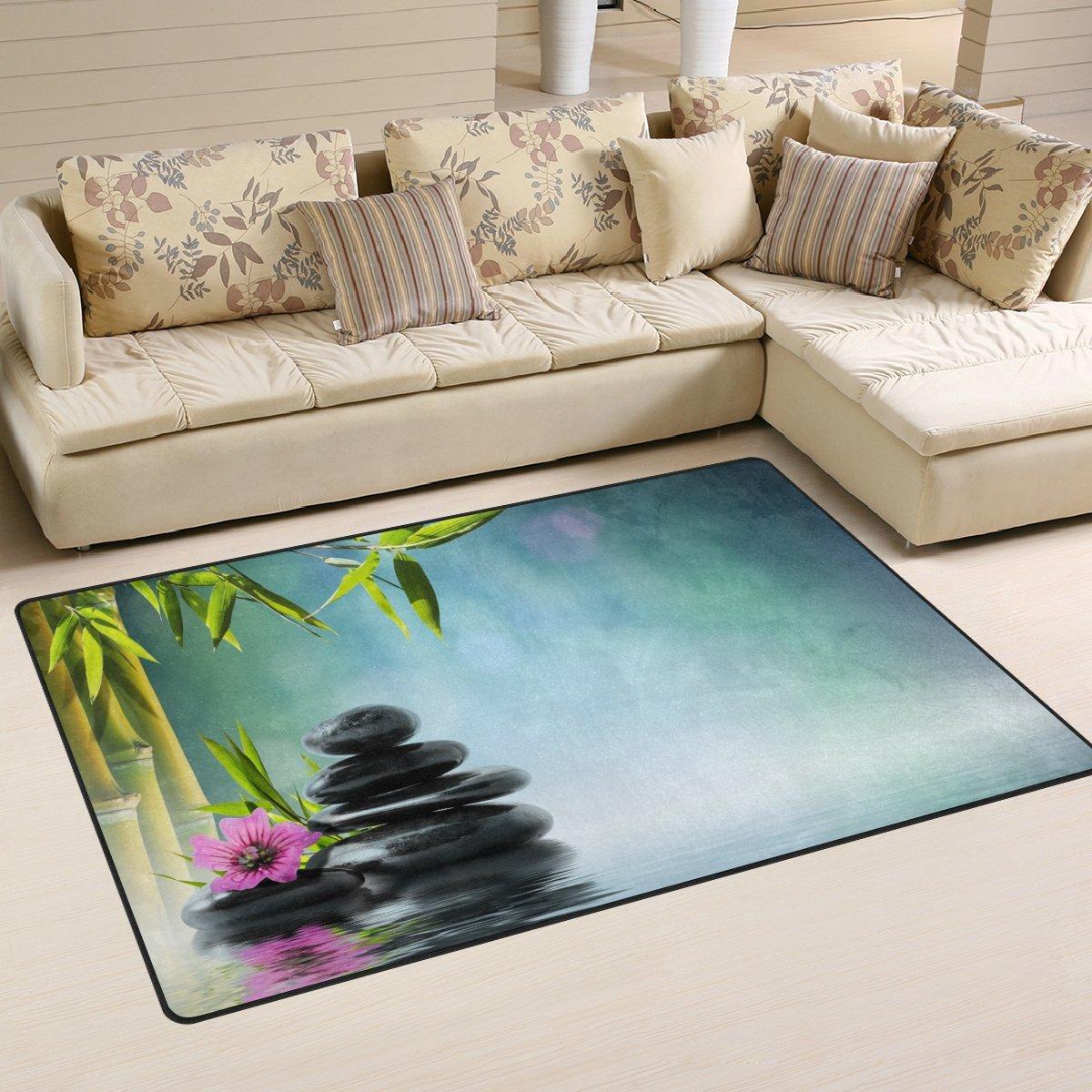 WellLee Area Rug,Tower Black Stone Hibiscus Bamboo Floor Rug Non-slip Doormat for Living Dining Dorm Room Bedroom Decor 60x39 Inch