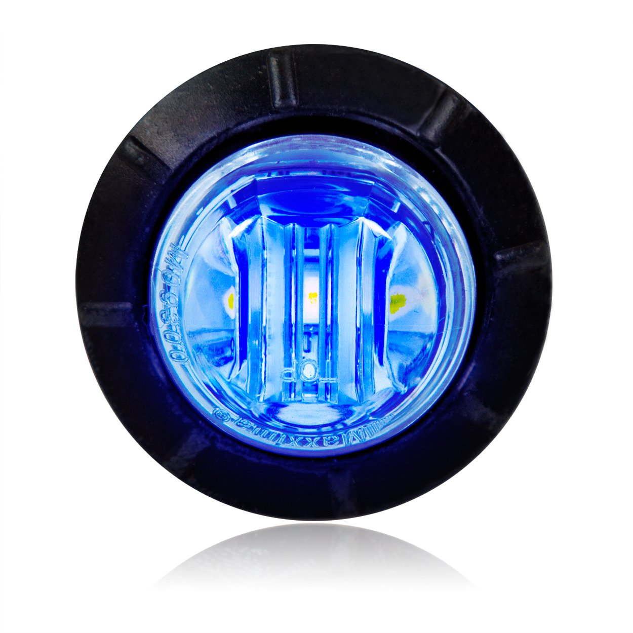 Maxxima M09300BCL Blue Clear Lens 3/4'' Round LED Courtesy Marker Light