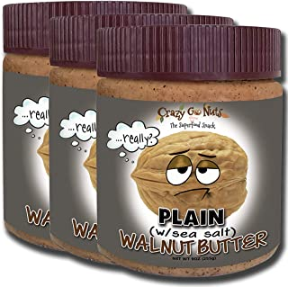 product image for Crazy Go Nuts Walnut Butter - Plain w/ Sea Salt, 9 oz (3-Pack) - Healthy Snacks, Keto, Vegan, Low Carb, Gluten Free, Superfood - Natural, Non-GMO, ALA, Omega 3 Fatty Acids, Good Fats and Antioxidants