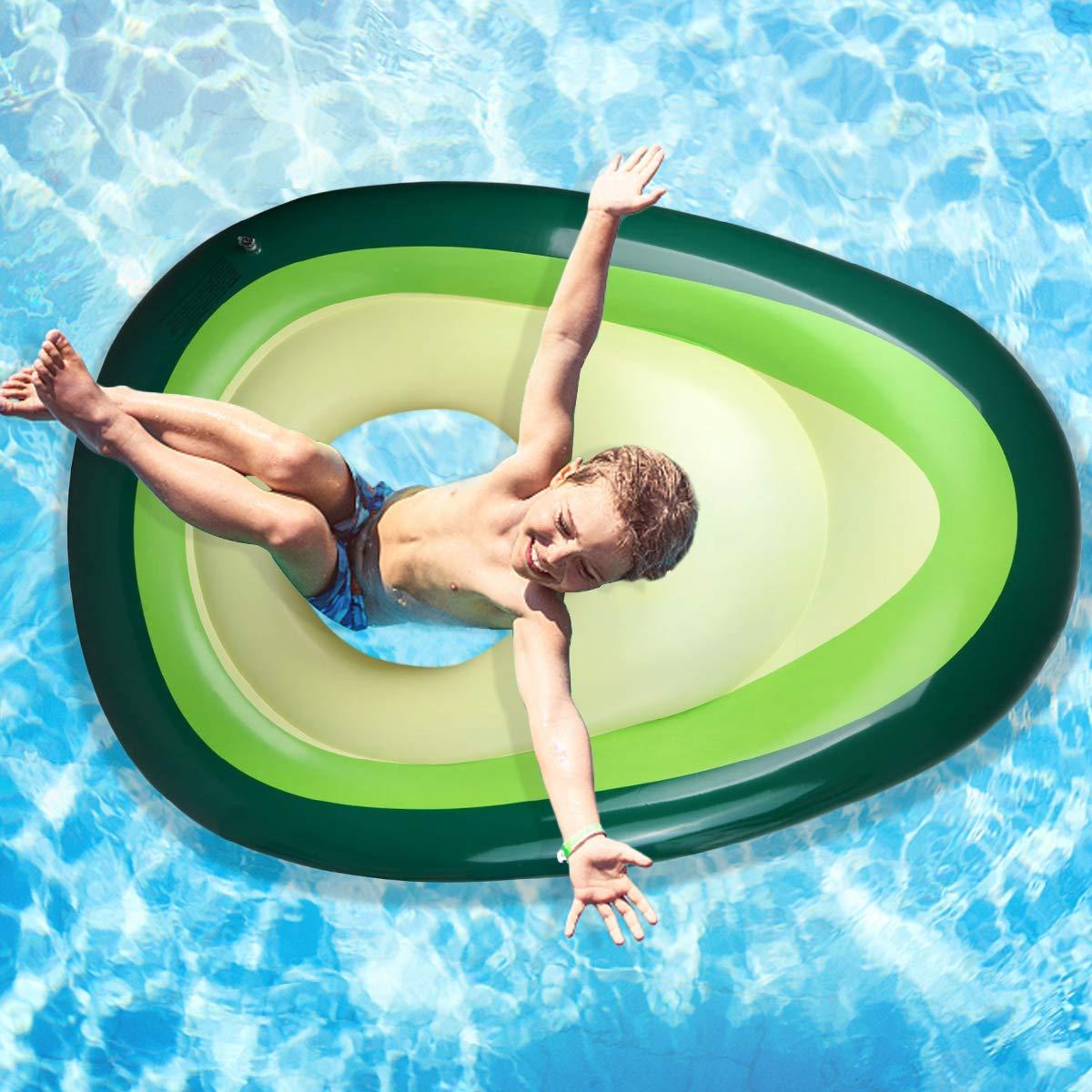 Aiduy Aufblasbare Avocado-Liege Gaint Pool Float mit Kugel Schwimmen Floaty Raft Strandspielzeug für Erwachsene & Kinder