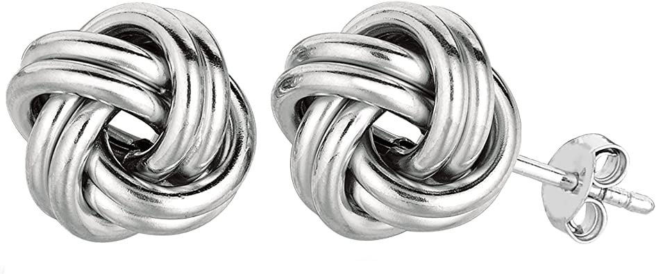 925 Sterling Silver Rhodium-plated Polished Love Knot Post Earrings