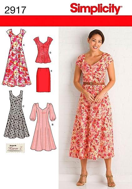 Simplicity 2917 BB - Patrones de costura para vestidos de mujer (tallas grandes)