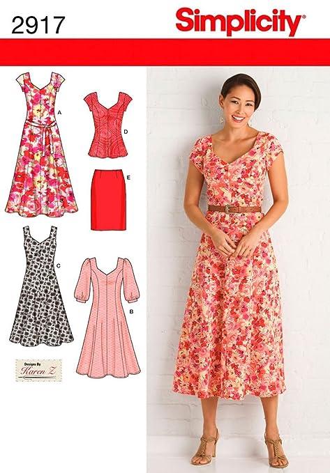 b45759df2 Simplicity 2917 BB - Patrones de Costura para Vestidos de Mujer (Tallas  Grandes)