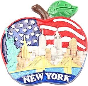 Americana Refrigerator Magnet American Flag United States Souvenirs Fridge Magnet, New York City Apple Shape