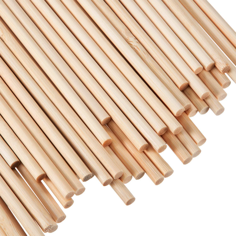 Febbya Tasselli di Legno, 100PCS Non finiti bastoni di Legno Naturale Craft bastoni per Artigianato Fai da Te Foto Costruzione di strutture 6mm * 15 cm