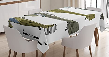 Ambesonne Airplane Tablecloth Thirties Style Dive In Camouflage Colors Historical Airshow Planes Design Dining