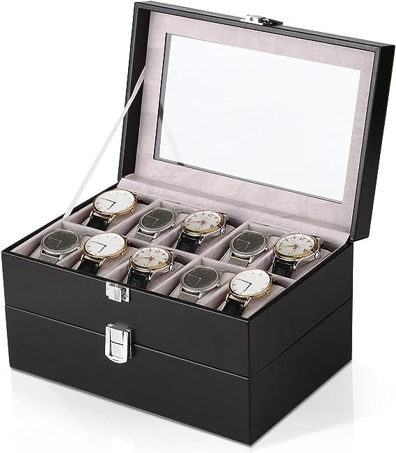 Coffret de Bijoux pour Femme et Homme-Noir Amzdeal Pr/ésentoir de Montre en Cuir de Double Couche Bo/îte de Montre de 20 Compartiments avec Couvercle en verre
