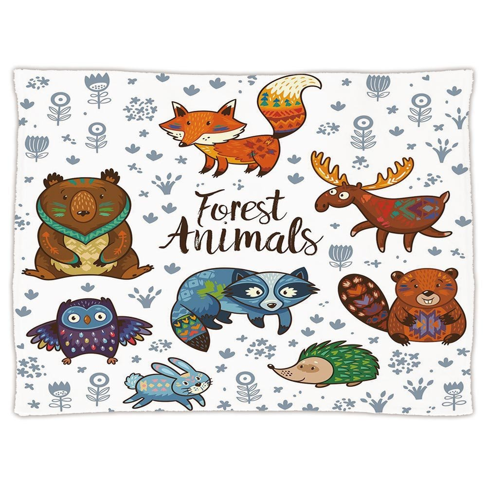 iPrint Super Soft Throw Blanket Custom Design Cozy Fleece Blanket,Cabin Decor,Set of Cute Woodland Animals Tribal Nature Elements Kids Room Nursery Wall Art,Multicolor,Perfect for Couch Sofa or Bed