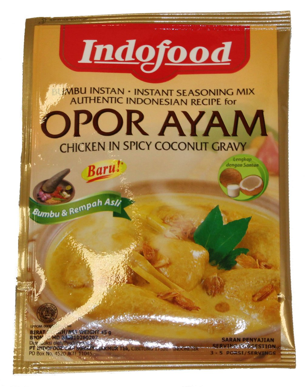 Indofood Bumbu Rendang Beef In Chilli And Coconut Mix Instant Bamboe Export Opor Ayam Chicken Spicy Gravy 6 X 45 G