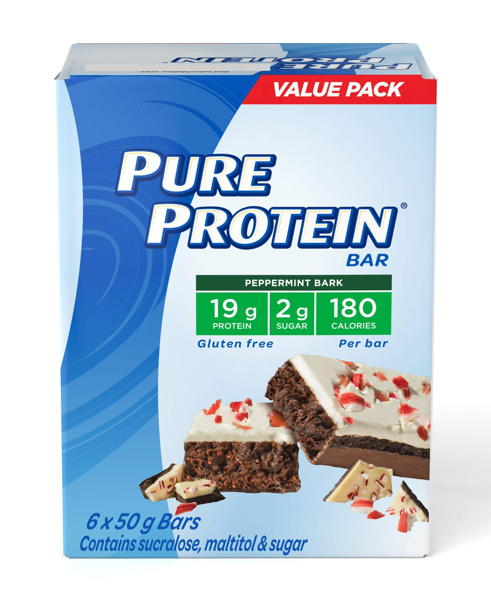 Pure Protein Bars, Gluten Free, Peppermint Bark, 50g, 6ct, {Imported from Canada}
