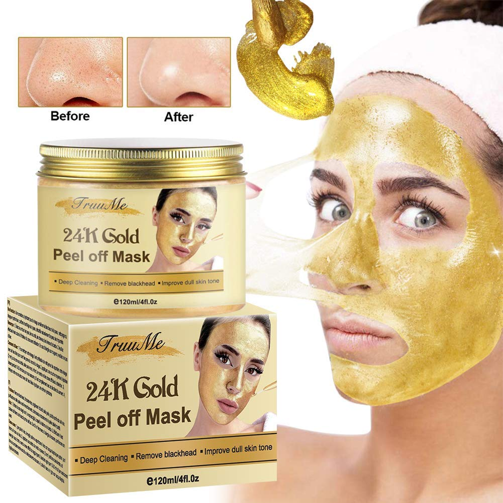 Blackhead Remover Mask, Blackhead Peel off Mask, Peel off Face Masks,24K Gold Facial Mask- Anti-Aging,Exfoliating Mask, Deep Cleansing Blackhead& Pore,Reduces Fine Lines& Wrinkles-120g by CIDBEST